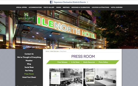 Screenshot of Press Page milenorthhotel.com - Chicago Hotels Downtown   MileNorth Hotel – Press Room   Chicago Hotels Michigan Avenue - captured Nov. 4, 2014