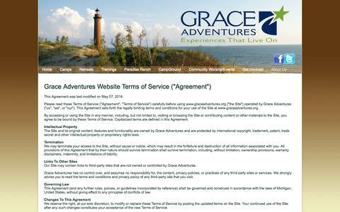 Screenshot of Terms Page graceadventures.org - Terms of Use | Contact Us - Grace Adventures - captured Sept. 30, 2014