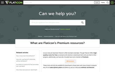 Screenshot of FAQ Page zendesk.com - What are Flaticon's Premium resources? – Flaticon - captured July 21, 2017
