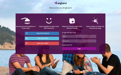 Screenshot of Login Page anghami.com - Welcome to Anghami - captured March 4, 2016