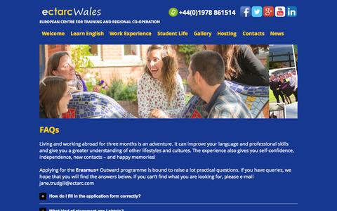 Screenshot of FAQ Page ectarc.com - FAQs Erasmus+ Outward Programme - captured Nov. 1, 2014