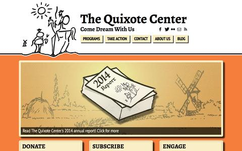 Screenshot of Home Page quixote.org - The Quixote Center | Come Dream With Us - captured Feb. 2, 2016