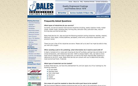 Screenshot of FAQ Page balesmold.com - Frequently Asked Questions  - Bales Mold Service - captured Oct. 5, 2014
