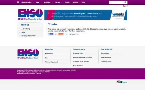 Screenshot of Jobs Page edgehillsu.org.uk - Jobs @ Edge Hill University Students' Union - captured Oct. 22, 2014