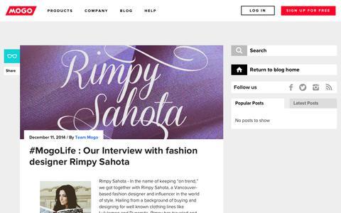 Screenshot of Blog mogo.ca - #MogoLife : Our Interview with fashion designer Rimpy Sahota - captured Sept. 1, 2018