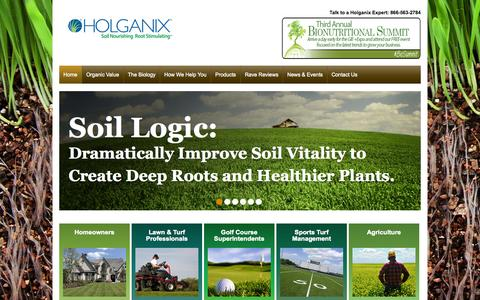 Screenshot of Home Page holganix.com - Holganix - Bionutrient, Organic Lawn Care Products for distributors and lawn care companies - captured Sept. 16, 2014