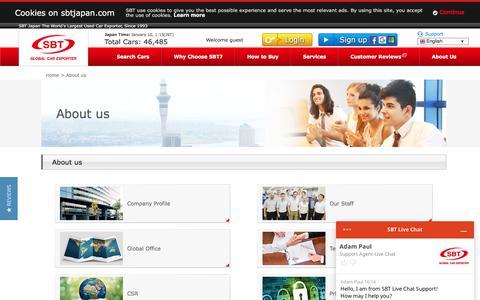 Screenshot of About Page sbtjapan.com - About Us | Japanese Used Cars Exporter, Dealer, Trader, Auction | SBT JAPAN - captured Jan. 9, 2020