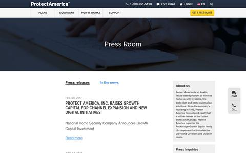 Screenshot of Press Page protectamerica.com - Press Room – In the News | Protect America - captured Sept. 23, 2017