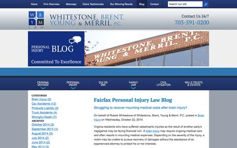 Screenshot of Blog wbymlaw.com - Fairfax Personal Injury Law Blog | Whitestone, Brent, Young & Merril, P.C. - captured Oct. 26, 2014