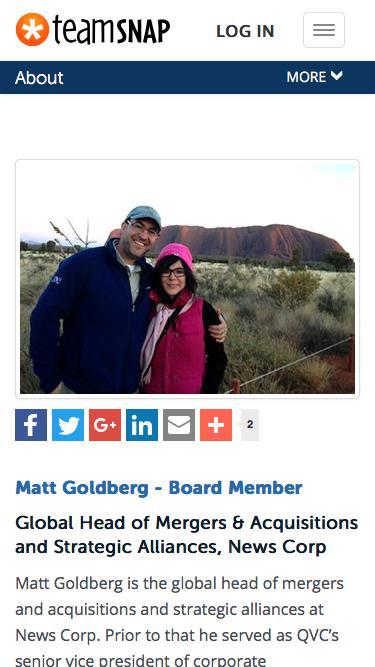 Screenshot of Team Page  teamsnap.com - Matt Goldberg - Board Member