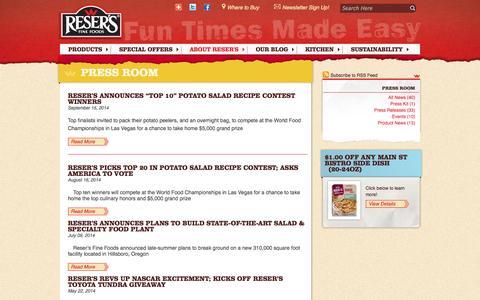 Screenshot of Press Page resers.com - Reser's Fine Foods - captured Oct. 31, 2014