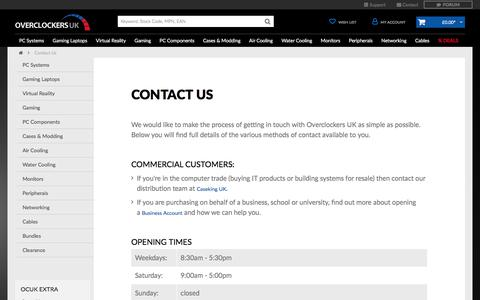 Screenshot of Contact Page overclockers.co.uk - Contact Us | PC Systems & Components | Overclockers UK - captured Sept. 21, 2018