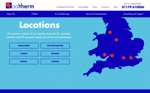 Screenshot of Locations Page cooltherm.co.uk - Air Conditioning Systems and Refrigeration Equipment | Cool-Therm - captured July 22, 2018