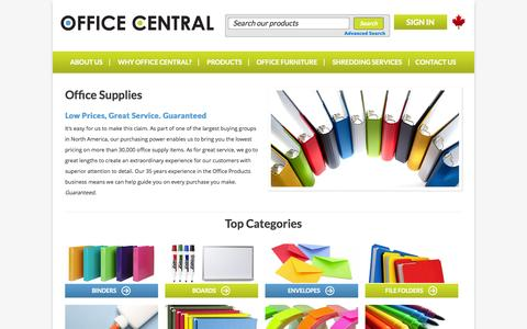 Screenshot of Products Page officecentral.com - Office Supplies & Business Products: Toronto, Ontario - captured Oct. 29, 2014