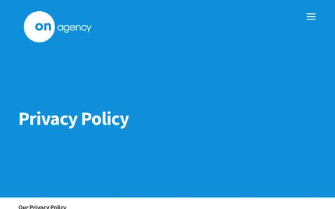 Screenshot of Privacy Page onagency.co.uk - Privacy Policy - On Agency - captured June 16, 2017