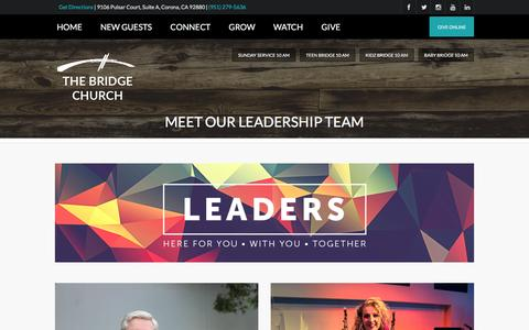 Screenshot of Team Page bridgeincorona.org - Meet Our Leadership Team | Bridge Church in Corona - captured Nov. 30, 2016