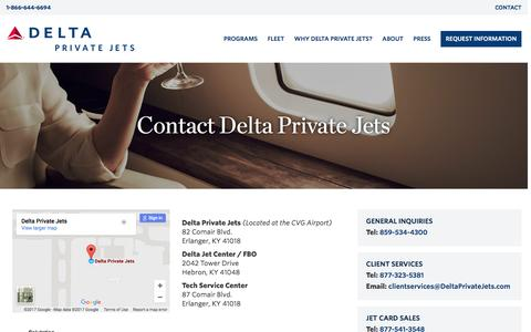 Screenshot of Contact Page deltaprivatejets.com - Contact - Delta Private Jets   Delta Private Jets - captured Feb. 1, 2017