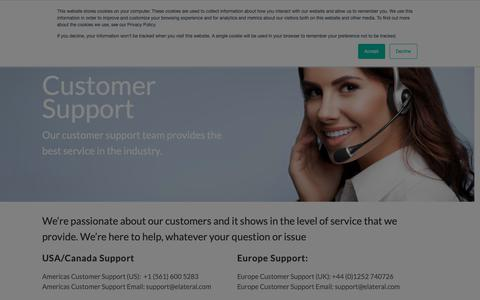 Screenshot of Support Page elateral.com - Customer Support - Elateral - captured June 9, 2019