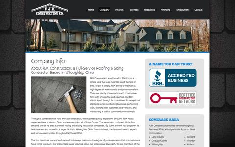 Screenshot of About Page rjkco.com - Company Info | RJK Construction Co. - captured Oct. 7, 2014