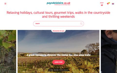 Screenshot of Home Page paysdelaloire.co.uk - France, Pays de la Loire: short breaks, weekends and vacations on the Atlantic coast - captured Nov. 25, 2018