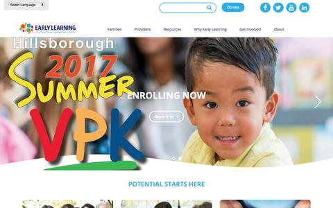 Screenshot of Home Page elchc.org - Home - Early Learning Coalition of Hillsborough County - captured July 12, 2017