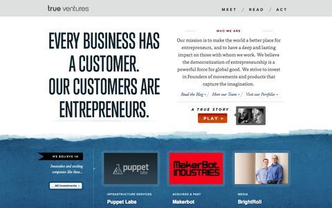 Screenshot of Home Page trueventures.com - True Ventures Early Stage Capital - captured Sept. 19, 2014
