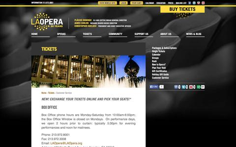 Screenshot of Support Page laopera.org - LA Opera - Customer Service - captured Dec. 5, 2015