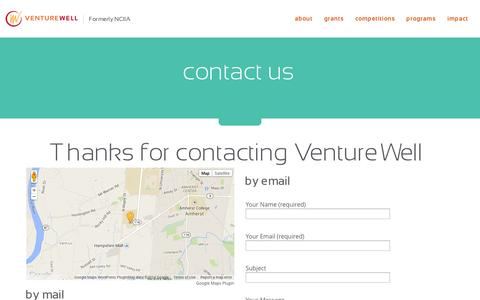 Screenshot of Contact Page venturewell.org - VentureWell  contact us - captured Nov. 5, 2014