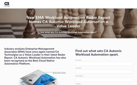 Screenshot of Landing Page ca.com - New EMA Workload Automation Radar Report Names CA Automic Workload Automation a Value Leader - CA Technologies - captured April 21, 2018