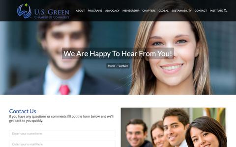 Screenshot of Contact Page usgreenchamber.com - Contact | U.S. Green Chamber of Commerce - captured Sept. 30, 2018