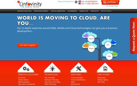 Screenshot of Home Page infovinity.com - Infovinity - Application Development, Web Design & Web Development Company - captured Oct. 6, 2014
