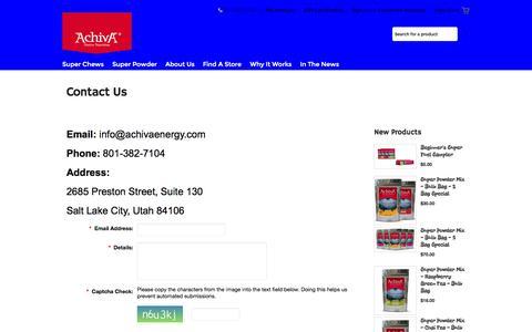 Screenshot of Contact Page achivanutrition.com - Contact Us - captured Nov. 2, 2014