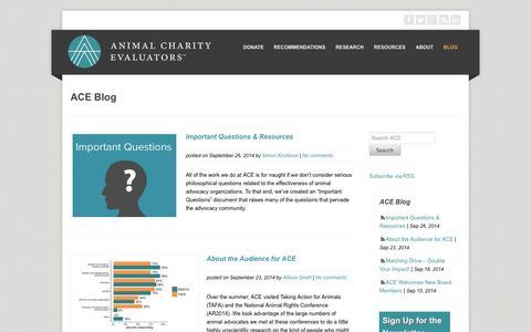 Screenshot of Blog animalcharityevaluators.org - Blog | Animal Charity Evaluators - captured Sept. 30, 2014