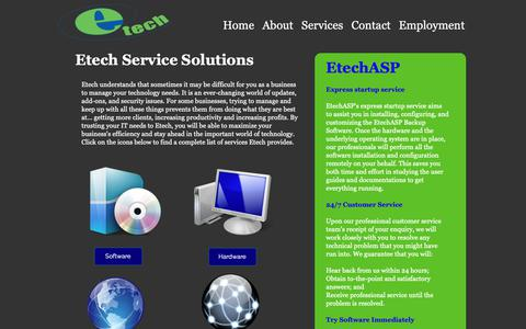 Screenshot of Services Page etech.us - Services - captured Sept. 29, 2018
