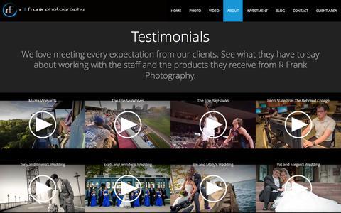 Screenshot of Testimonials Page rfrankphotography.com - Testimonials  - R Frank Photography - captured Jan. 12, 2016