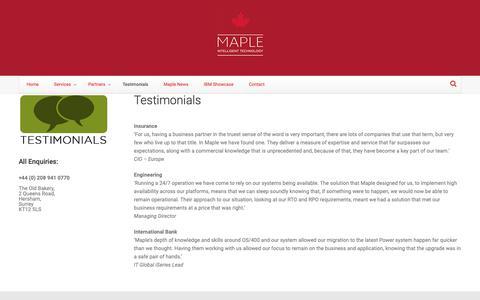 Screenshot of Testimonials Page maplecom.co.uk - Testimonials | Maplecom - captured Oct. 16, 2018