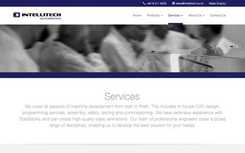 Screenshot of Services Page intellitech.co.nz - Intellitech Automation | Services - captured Oct. 12, 2018