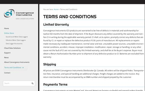 Screenshot of Terms Page convergenceinstruments.com - Terms and Conditions - Convergence InstrumentsConvergence Instruments - captured July 22, 2018