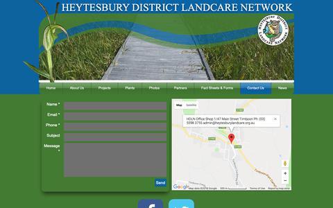 Screenshot of Contact Page heytesburylandcare.org.au - heytesburylandcare | Contact Us - captured Sept. 28, 2018