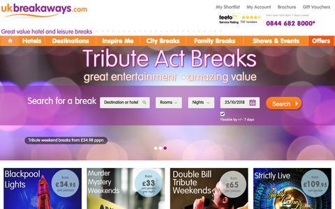 Screenshot of Home Page ukbreakaways.com - UK Breakaways - Great Value Hotel & Weekend Breaks - captured Oct. 24, 2018