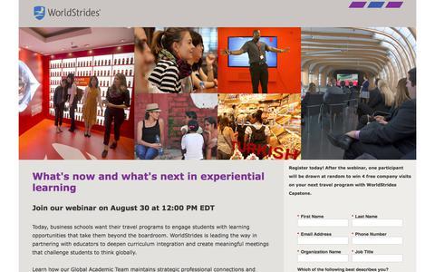 Screenshot of Landing Page educationaltravel.com captured June 21, 2017
